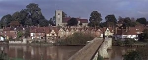A shot of Aylesford Bridge, with the river and village in the background