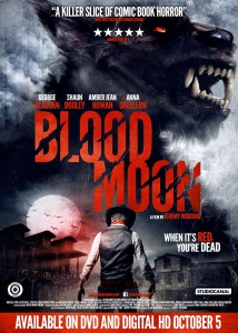 Blood Mood Film Poster- werewolf in the grey clouds with an image of a man facing him with guns. a moon and buildings can be seen in the distance. Blood Moon written in red in the centre of the poster