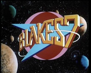 Blakes 7 logo in space- cartoon planets with BLAKES 7 written in yellow on top