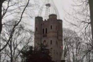 Blakes 7 Screenshot at Quex Park- Waterloo Tower with trees around it