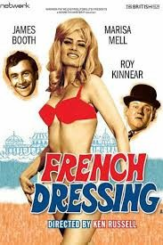 French Dressing Poster- lady in a red bikini standing in front of a cartoon beach scene, the faces of two men float behind her. French Dressing is written over the top