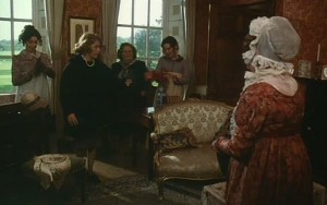 French and Saunders - Pride and Prejudice screenshot at Finchcocks - actors dressed in period costume with the homeowners in shot