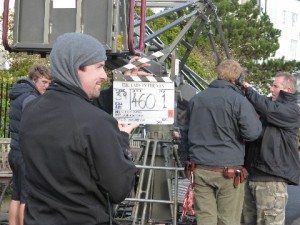 film crew in Thanet- Crew members snapping the clapperboard away from the camera