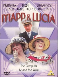 Mapp and Lucia DVD cover- three characters in a triangle on a purple patterned background. Mapp & Lucia written in pink on top