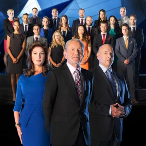 The Apprentice Contestant behind Karren Brady, Lord Sugar and Claude Littner