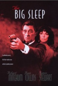 The Big Sleep film poster- a man pointing a gun at the camera, with a women looking at his behind. Smokey red background with Big sleep written in white