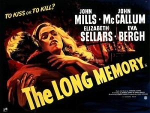 The Long Memory film poster- a man and women hugging, the man is faced away from the camera. The Long Memory written in yellow
