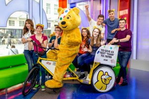 Pudsey the bear in the studio with Team Rickshaw