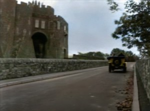 A car driving past Dover Castle