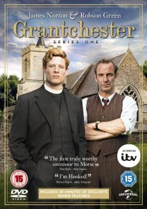 Grantchester DVD cover- Two actors staring at the camera with a church behind. Grantchester written in gold on top