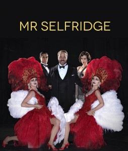 MR_SELFRIDGE - JEREMY PIVEN as Harry Selfridge, KATHERINE KELLY as Mae Rennard, SACHA DHAWAN as Jimmy and ZOE RICHARDS and EMMA HAMILTON as THE DOLLY SISTERS. All actors staring at the camera behind a black background. Mr selfridge is written in yellow