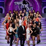 Take Me Out - The girls standing on a staircase with presenter Paddy McGuinness