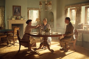 Churchill's Secret at Chartwell DAISY LEWIS as Mary, LINDSAY DUNCAN as Clementine and CHRISTIAN MCKAY as Christopher Soames sitting at a table