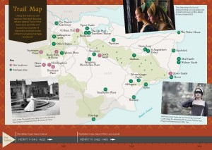 Kent Film Office Tudor Trail Map- map of kent with images of productions around the edge