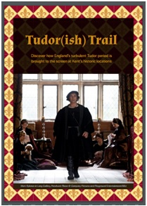 Tudor (ish) trail front cover- image of a tutor man walking towards the cameras, with 4 women sitting in the floor behind him