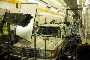 Behind the scenes of The Tunnel Sabotage - filming a car in Euro Tunnel