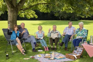 Boomers Maureen (STEPHANIE BEACHAM), John (RUSS ABBOT), Carol (PAULA WILCOX), Trevor (JAMES SMITH), Alan (PHILIP JACKSON), Joyce (ALISON STEADMAN) having a picnic in a park under a tree