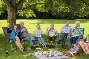 Boomers Maureen (STEPHANIE BEACHAM), John (RUSS ABBOT), Carol (PAULA WILCOX), Trevor (JAMES SMITH), Alan (PHILIP JACKSON), Joyce (ALISON STEADMAN) having a picnic in a park under a tree