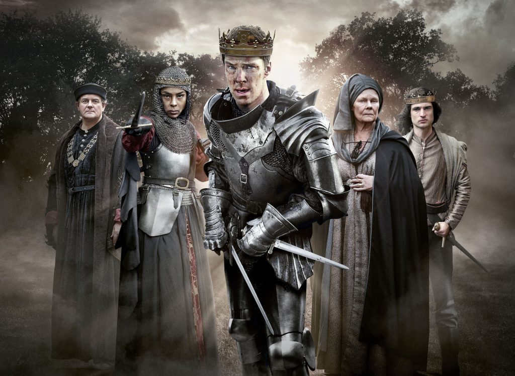 (HUGH BONNEVILLE), Margaret (SOPHIE OKONEDO), Richard III (BENEDICT CUMBERBATCH), Cecily (JUDI DENCH), Henry VI (TOM STURRIDGE) staring into the camera with trees behind them