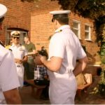 Chequers Inn pub in Aylesford- beer garden with actors dressed in sailor uniforms