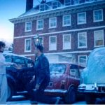 The Historic Dockyard Chatham, three cars parked up in front of building with two actors in front of a red mini