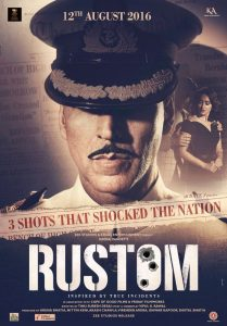 Rustom film poster with army officer on the cover. Image of women is faintly shown behind. Rustom is written on top in white