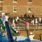 Historic Dockyard- various actors waving goodbye