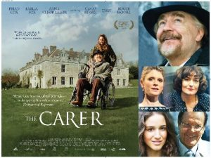 The Carer film poster - Brian Cox and Coco König in open gardens of large country house. The Carer written in white text