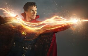 Dr Strange (Benedict Cumberbatch) with a light effect through his hands