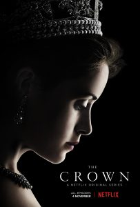 The Crown poster Queen Elizabeth II (Claire Foy) looking down wearing a crown