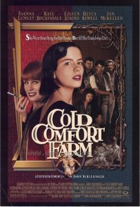 Cold Comfort Farm poster- 6 characters standing facing the camera in a frame. Cold Comfort Farm is written in white on top
