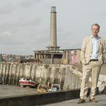 Sky Arts Landscape Artist of the Year in Margate - Joan Bakewell and Frank Skinner standing at the harbour arm