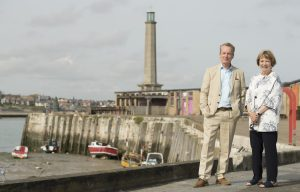 Sky Arts Landscape Artist of the Year in Margate - Joan Bakewell and Frank Skinner standing at the harbour arm in Margate