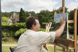 Sky Arts Landscape Artist of the Year at Scotney Castle - artist painting in the grounds