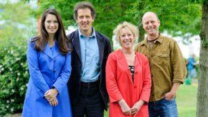 Rachel De Thame, Monty Don, Carol Klein, Joe Swift standing looking at camera