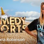Morgana Robinson looking at camera whilst on beach with comedy shorts title in background
