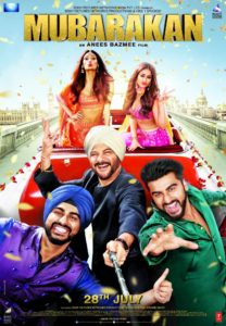 Main characters in car facing and pointing at camera with film title Mubarakan above them