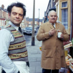 David Jason and Ronnie Barker standing in street looking at camera