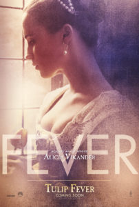 Fever poster- A women in a period dress stares out the window. The word Fever is written on top of the image.