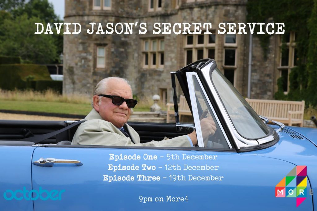 David Jason appears in a vintage car in front of a historic espionage building. David Jason's Secret Service, epiisode one- 5th December, Episode two- 12th December, Episode three- 19th December, 9pm on More 4 is written in white on top.