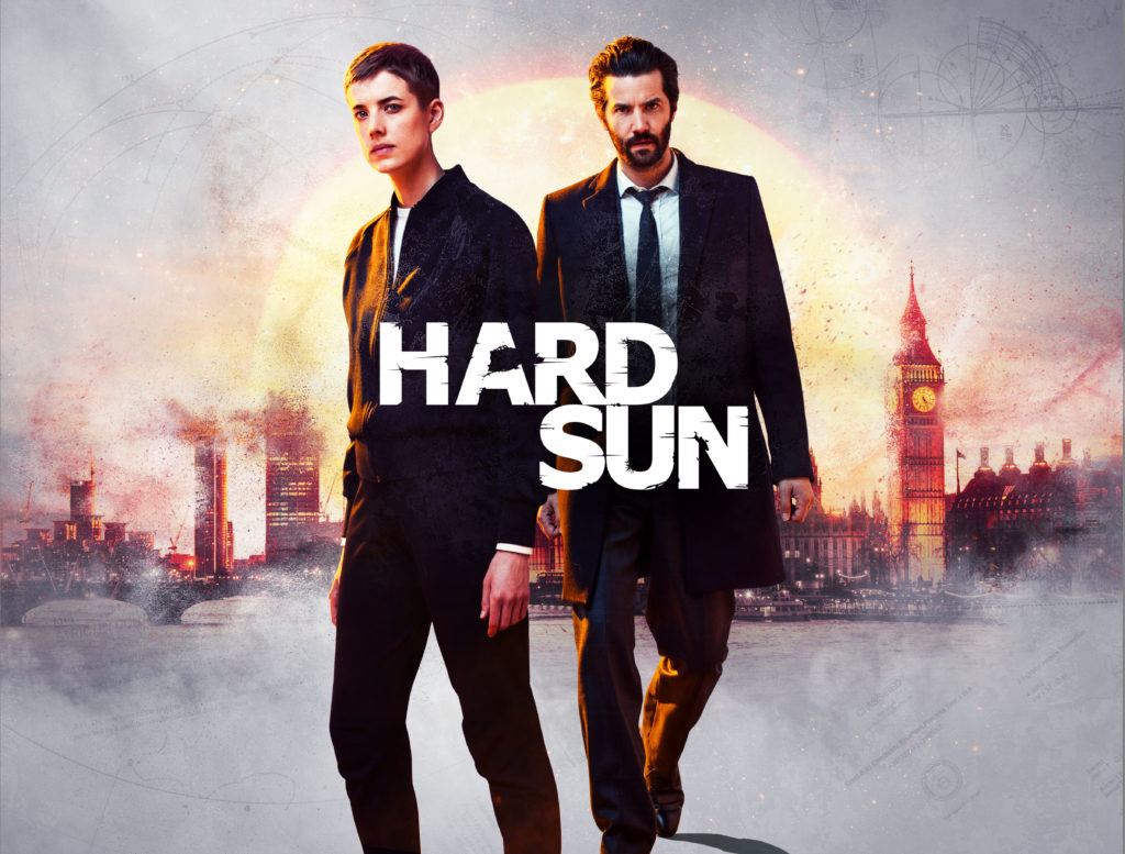 Promotional image showing Renko (AGYNESS DEYN) and Hicks (JIM STURGESS) against a London skyline