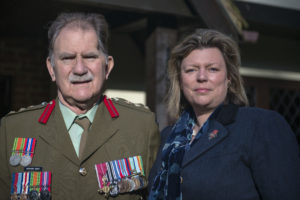 Richard Gray in his New Zealand Army uniform going to Anzac Day commemorations with his wife Fiona, April 2017