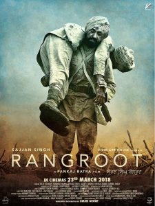 Movie poster showing WW1 Indian soldier carrying a comrade on his back. Rangroot is written in white underneath.