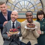 Image of The Great British Bake Off hosts Tom Allen and Liam Charles and pastry chef judges Cherish Finden and Benoit Blin