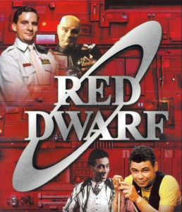 DVD poster for Red Dwarf - Gunman of the Apocalypse (1993)- red background with 2 characters in the top left and 2 bottom right. Red Dwarf written in silver