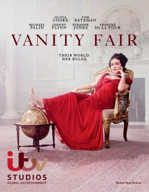 Poster for Vanity Fair series- women in long red dress sat on a gold chair with her feet up on a globe model.
