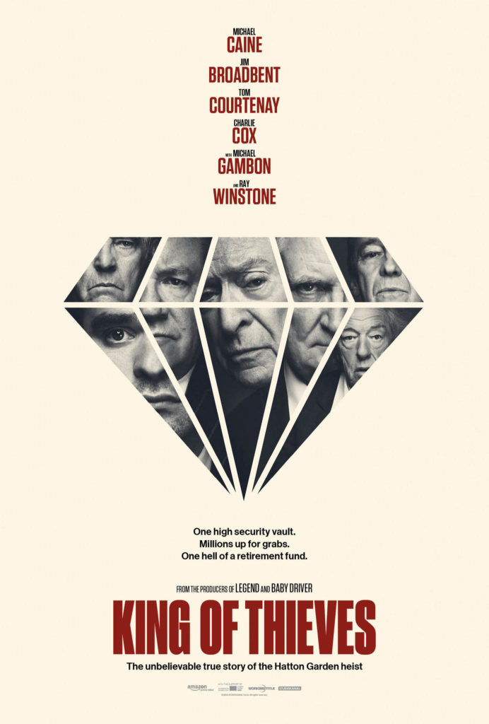 King of Thieves Movie Poster with pink background and main actors faces in the shape of a diamond.