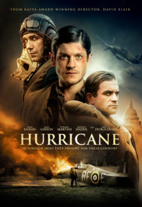 Official Hurricane Movie Poster- Crashed plane at the bottom of the poster, three main characters at the centre of the poster in period clothing, planes and london skyline in background. Hurricane reads in the centre
