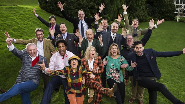 Bargain Hunt Series 51 poster- aerial shot of 15 cast members in a group kicking the air with their arms up and cheering faces.