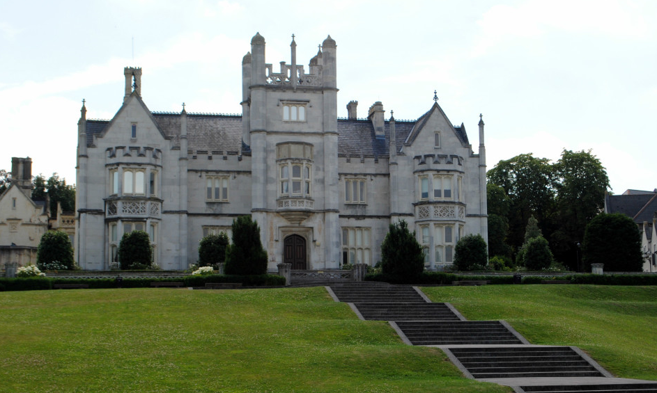Image of Ingress Abbey - a large grey building on top of a green grassy hill